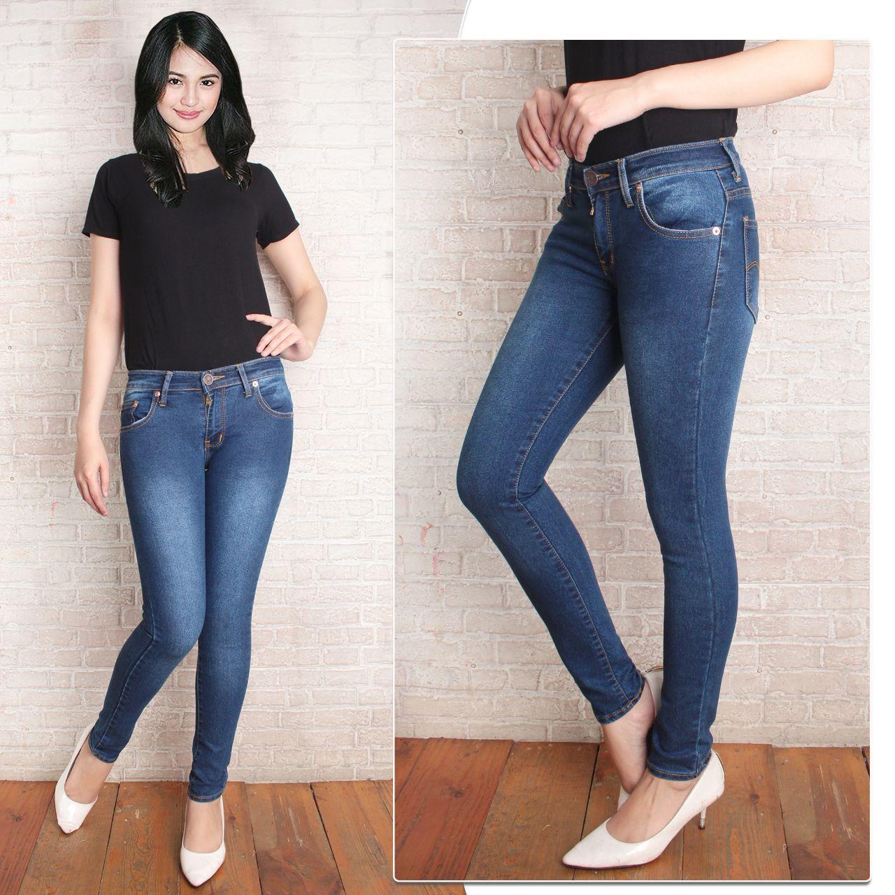 celana jeans wanita skiny slimfit biru tua pensil terbaru
