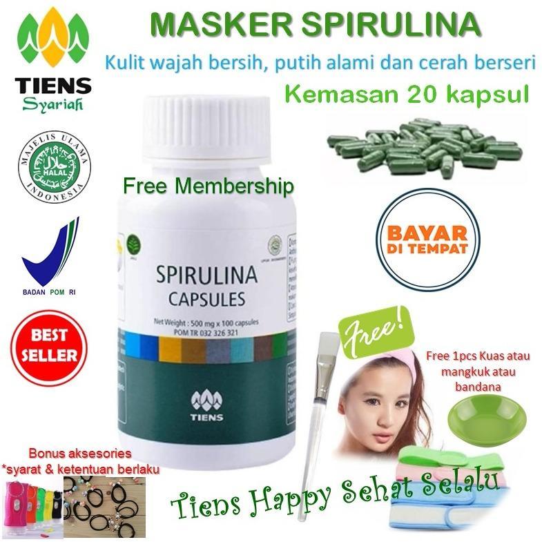 Jual Masker Spirulina Tiens Herbal Pemutih Wajah Isi 20 Kapsul Satu Set