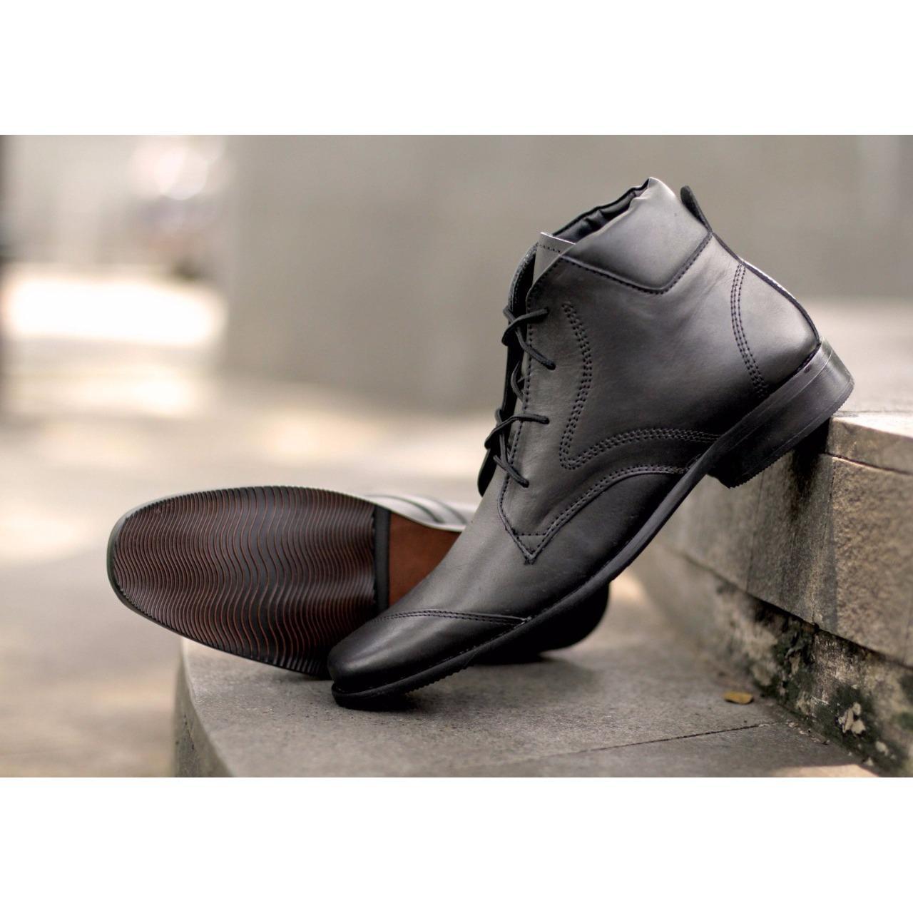 Sepatu Formal pantopel Kulit Pria Pantofel Kerja pantovel Kantor Kombinasi Kulit  pantofel - Hitam Distro Bandung 22b2469595