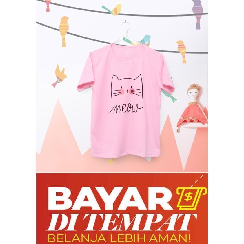 EP Kaos Wanita Lengan Pendek Meow Warna Pink