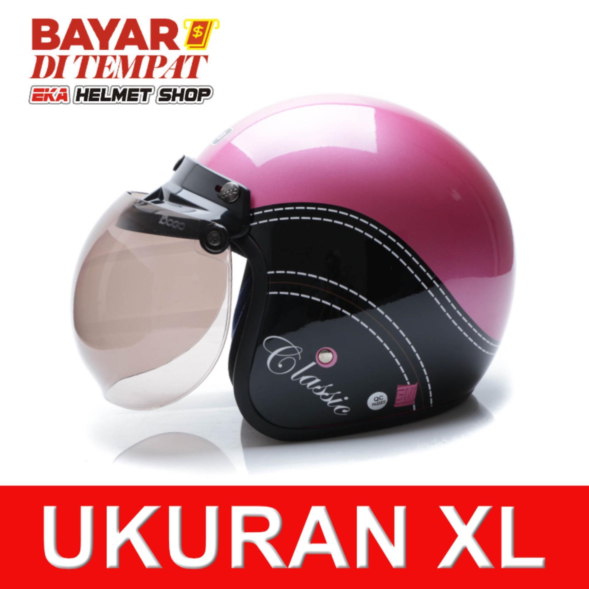 Wto Helmet Retro Bogo Classic Pink Hitam Banten Diskon 50