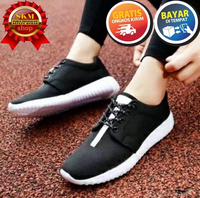SKM sepatu Kets Pria dan Wanita SP hitam sol putih/ Sepatu Sneakers Santai