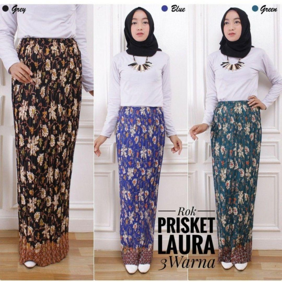 Review Sb Collection Rok Plisket Maya Maxi Panjang Jumbo Batik Wanita Terbaru