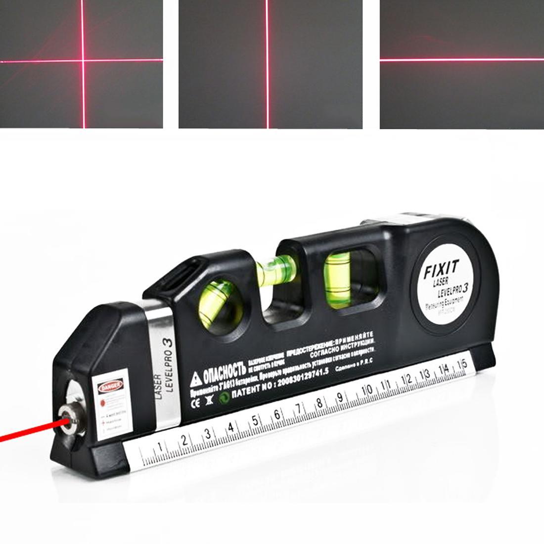 Multipurpose Level Laser Horizon Vertical Measure Tape 8Ft Aligner Bubbles Ruler Tool For .