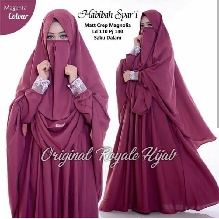 Features Baju Original Gamis Habibah Syari Dress Buble Crepe Baju