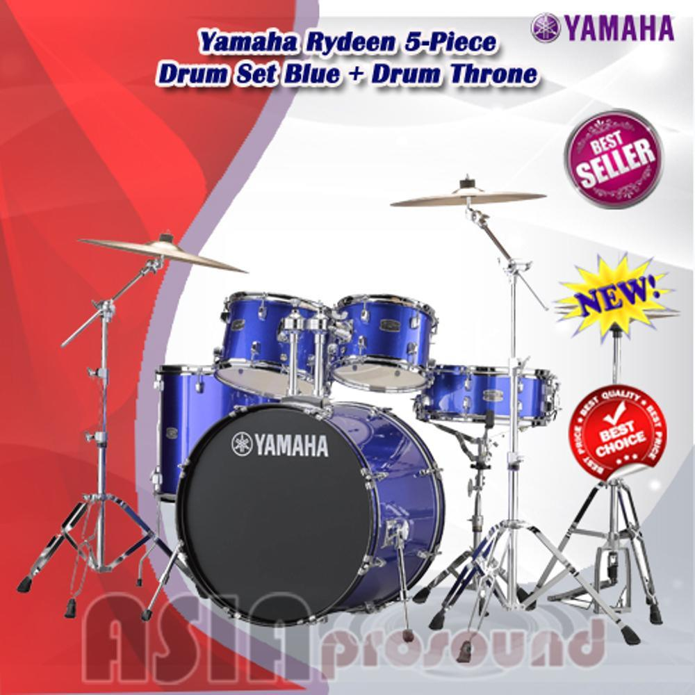 Drum Akustik Yamaha Rydeen 5 Piece Drum Set Blue Drum Throne