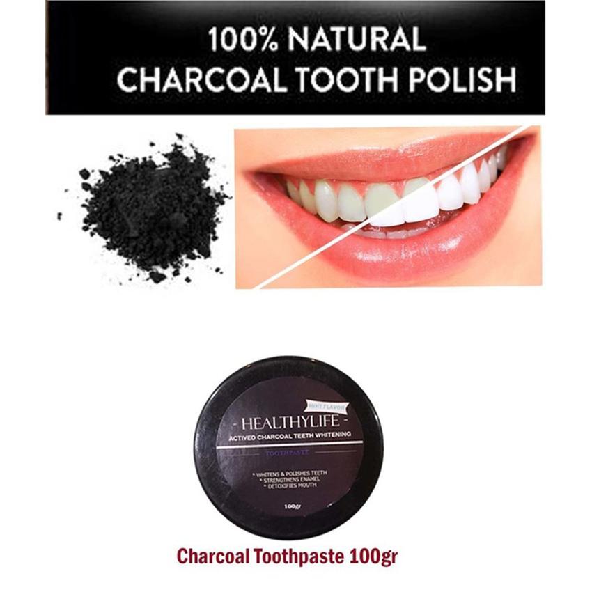 Healthylife Whitening Teeth Actived Charcoal Toothpasta - Pasta Gigi Arang Aktif Pemutih Gigi - 100gr