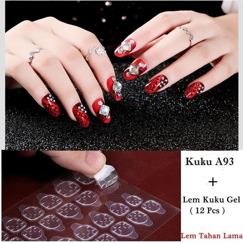 JBS Nails Kuku Palsu 3D Nikah Wedding False Fake Nails Nailart Dan Lem Kuku A93