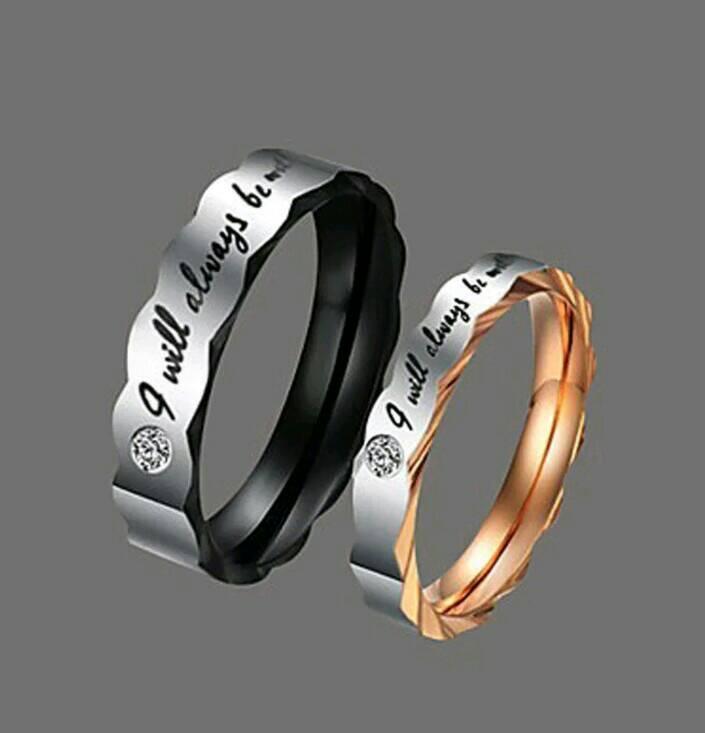 Diskon Promo Perhiasan Aksesoris Cincin Tunangan Couple Titanium Steel Black&Gold Lovers Murah
