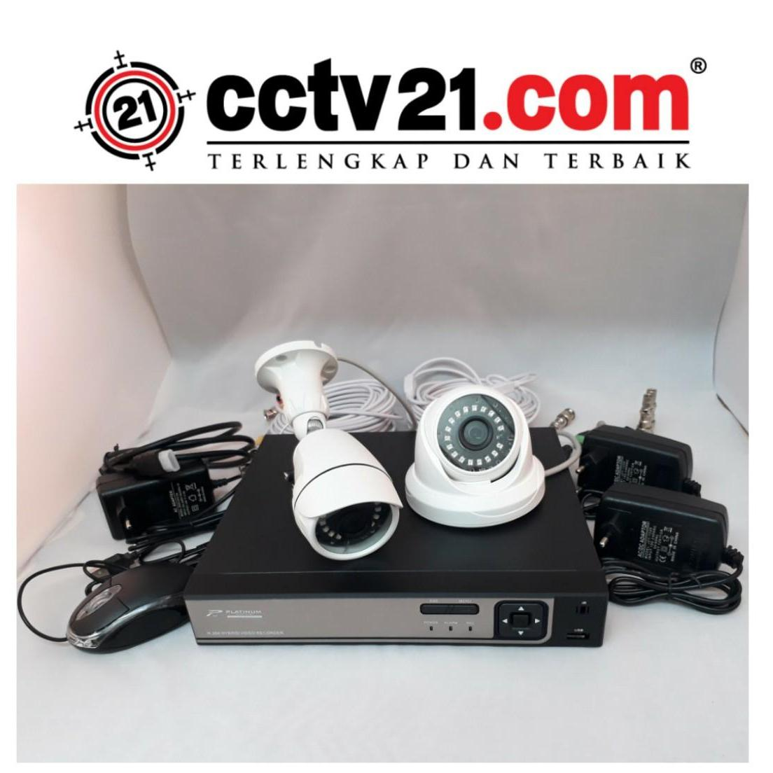 Promo Paket 2 CCTV HD 2MP 1 Camera In - 1 Camera Out +2 Adp 2A+20mtr Kabel -DVR Full HD 4 ch 5 in 1