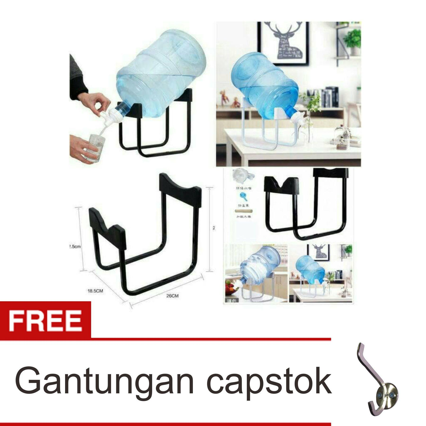 Lanjarjaya Rak Galon Tatakan Galon + Kran Air Galon / Dispenser Air Galon / Dispenser Minuman / Tatakan Aqua / Rak Besi Warna Random + Gantungan Capstok