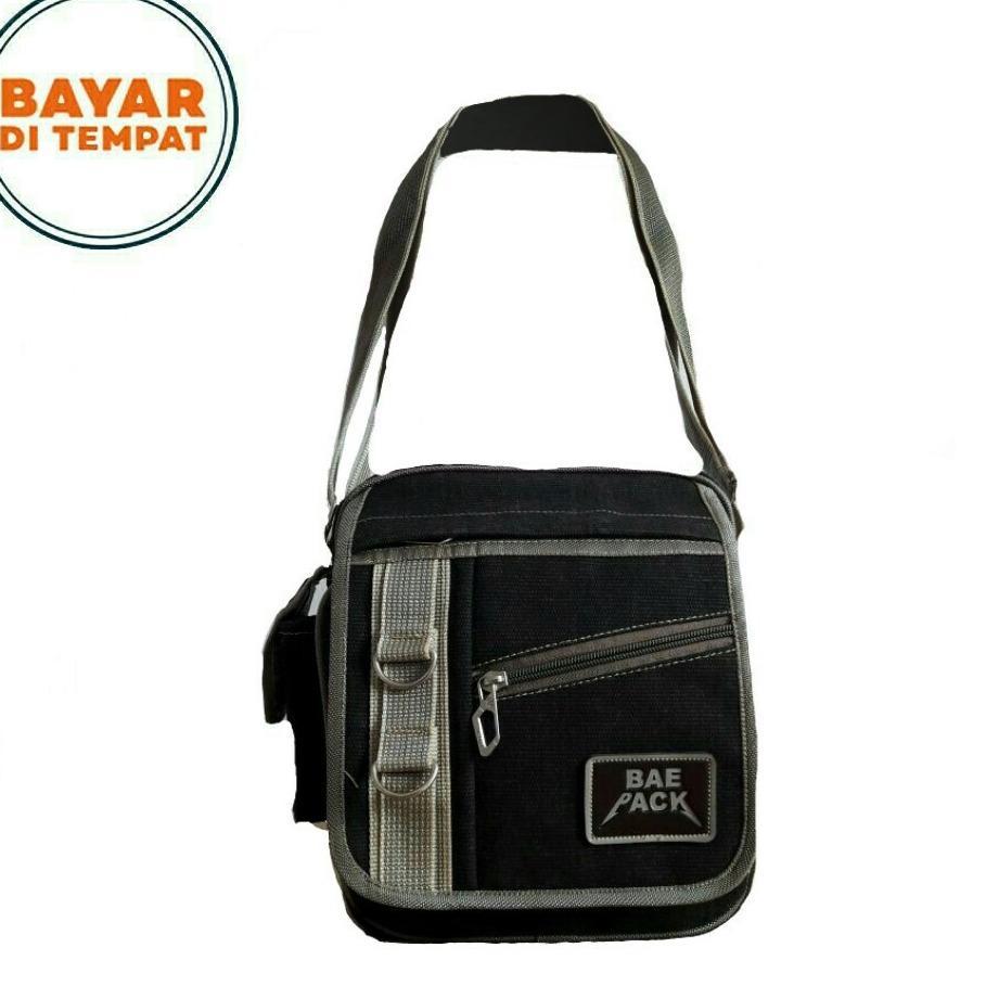 Detail Gambar Tas Pria Baepack Men Vintage Canvas Multifunction Travel  Satchel Messenger Shoulder Bag - Black 63f21ec401