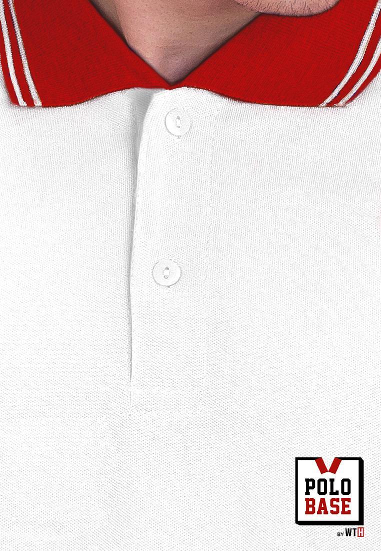 Fitur Baju Kaos Kerah Polo Shirt Cowok Pria Putih Merah Kemeja Polos Kombinasi List Polobase Id 2