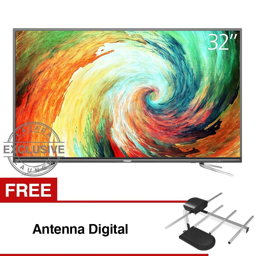 Coocaa 32 inch Digital Ready LED TV - Hitam (Model 32E2A12T) Free Antena Digital