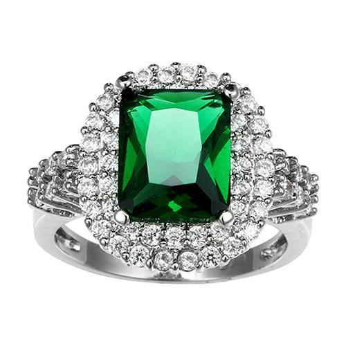 Phoenix B2C Wanita hijau Zircon perak berlapis cincin Fashion pernikahan Bague perhiasan hadiah - 4