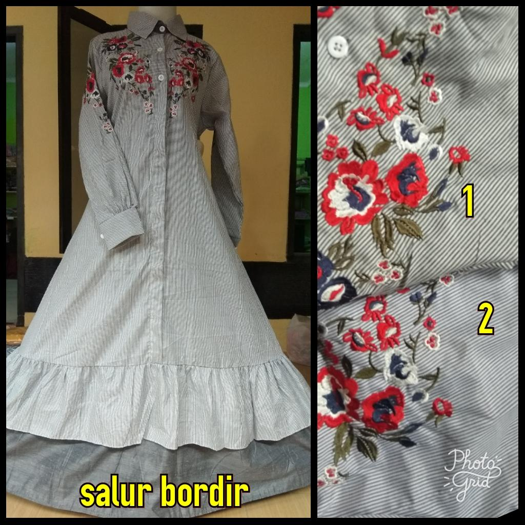 Fitur Zaharra Maxi Dress Gamis Katun Bordir Bunga Baju Koko Sandi Motif Salur
