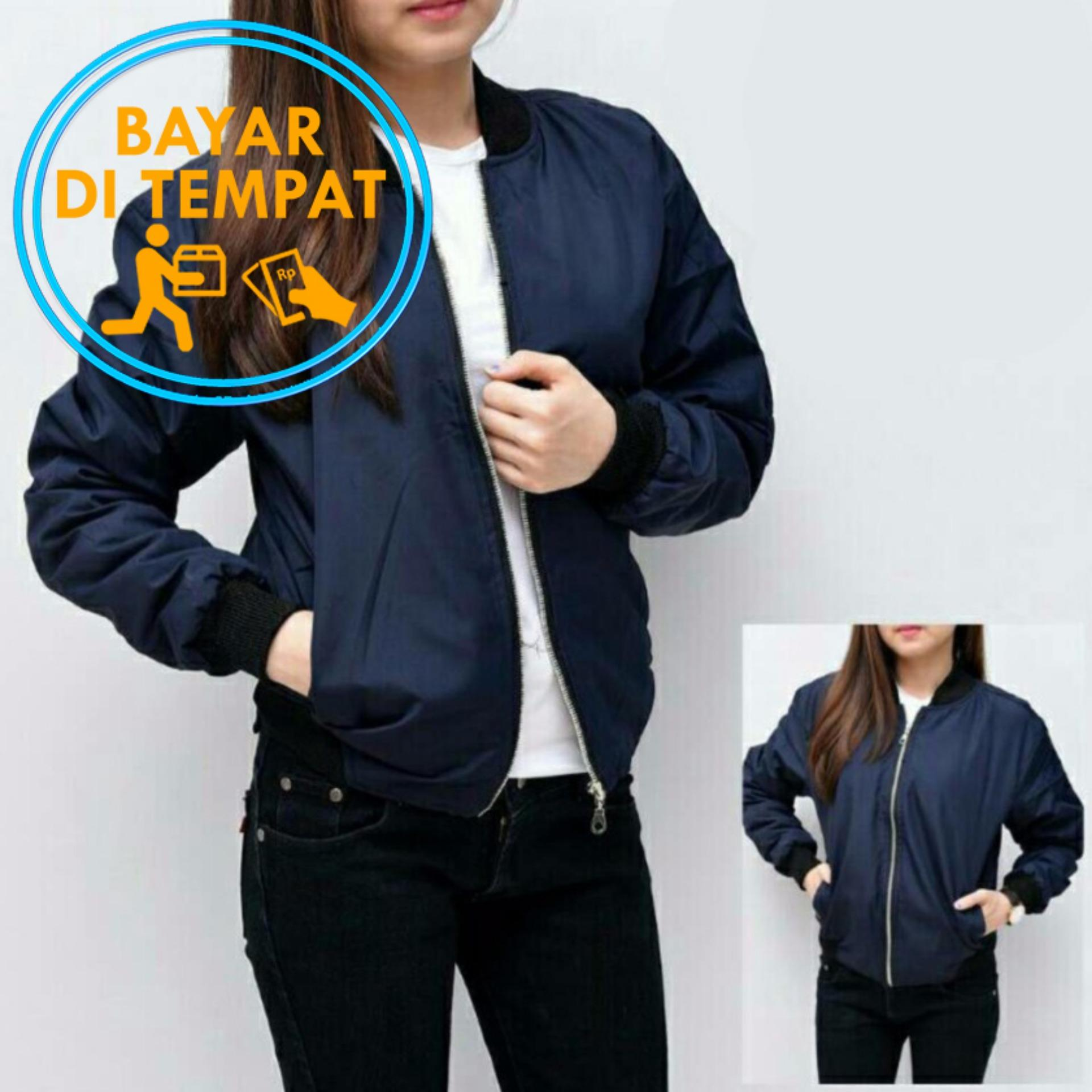 Review Jaket Murah Bomber Wanita Navy Black Bgsr Di Indonesia