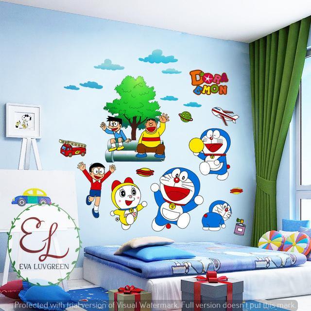 Eva Luvgreen Wallsticker Doraemon Ukuran 60x90cm/ Stiker Dinding/ Stiker Tembok/ Wallpaper Sticker/