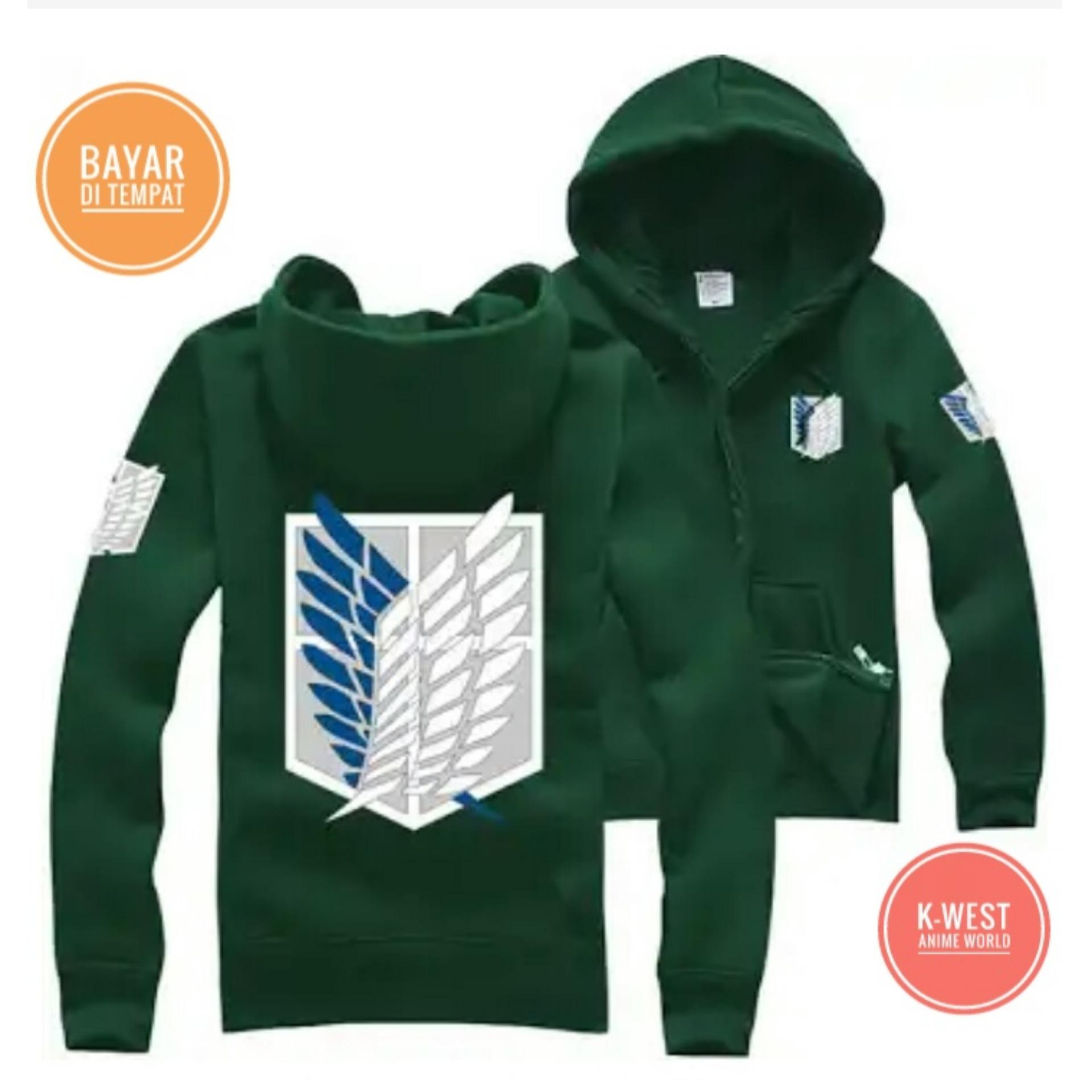 Beli Jaket Anime Attack On Titan Green Hoodie Zipper Best Seller K West Murah
