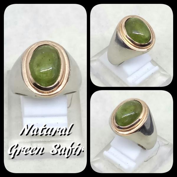 NEW PROMO Perhiasan Aksesoris CINCIN BATU AKIK PERMATA NATURAL GREEN SAFIR SHAPPIRE HIGH QUALITY Murah