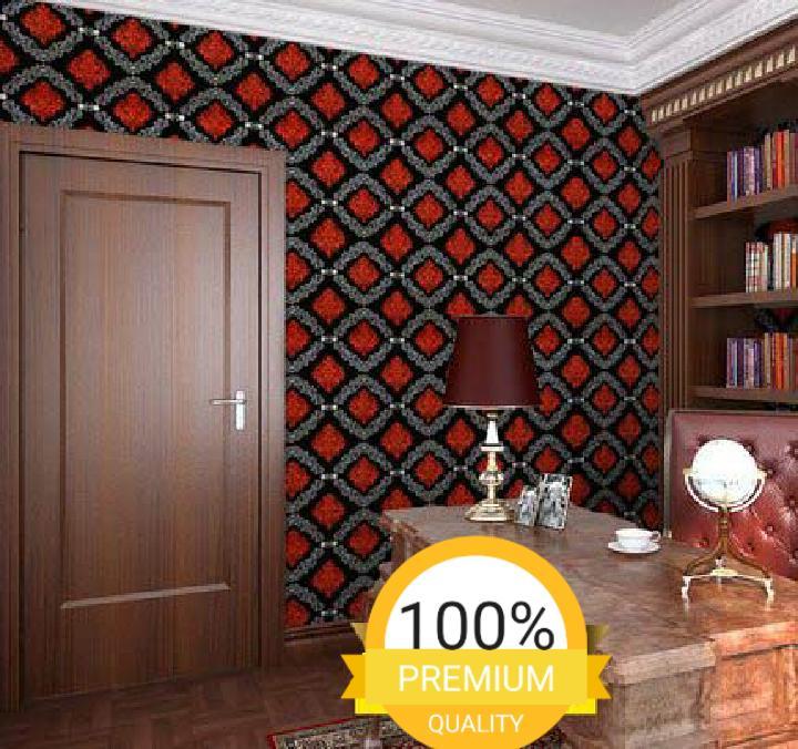 Detail Gambar Grosir murah wallpaper sticker dinding kamar ruang indah bagus cantik elegan hitam batik merah putih Terbaru