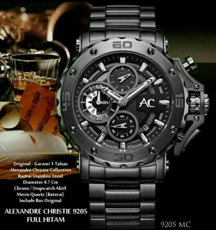 JAM TANGAN ALEXANDRE CHRISTIE AC 9205 FULL BLACK ORIGINAL