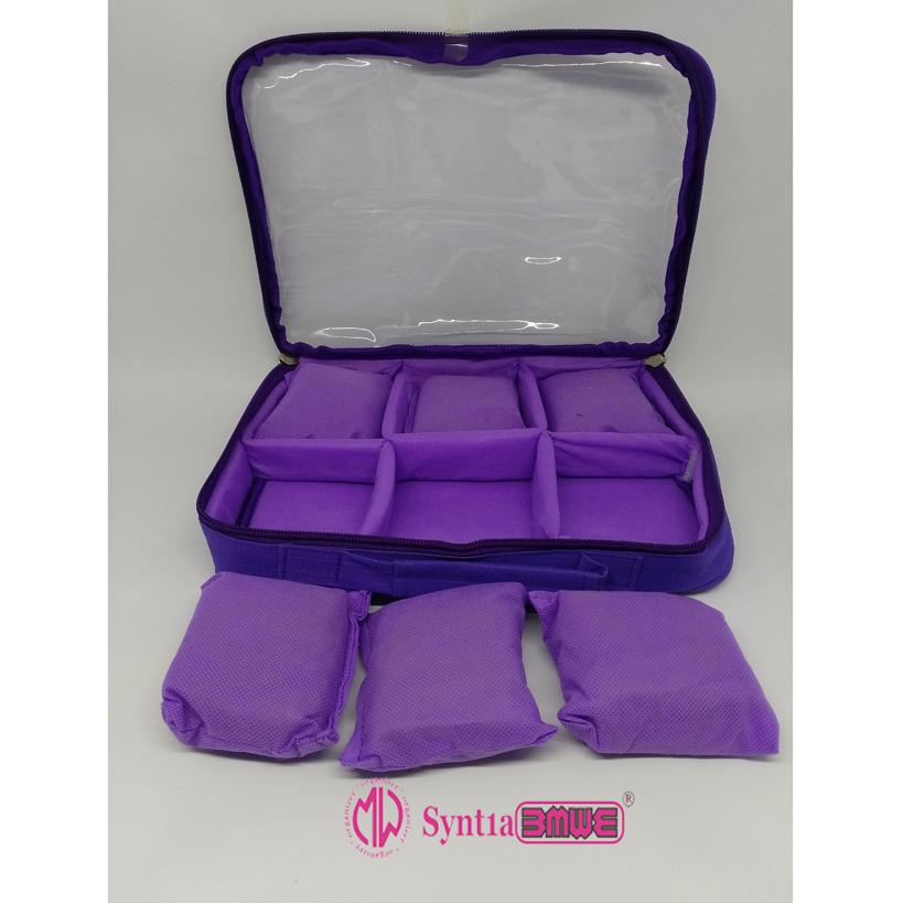 Emwe WCO Watch Case organizer tas tempat kotak simpan jam gelang tangan aksesoris perhiasan - Ungu
