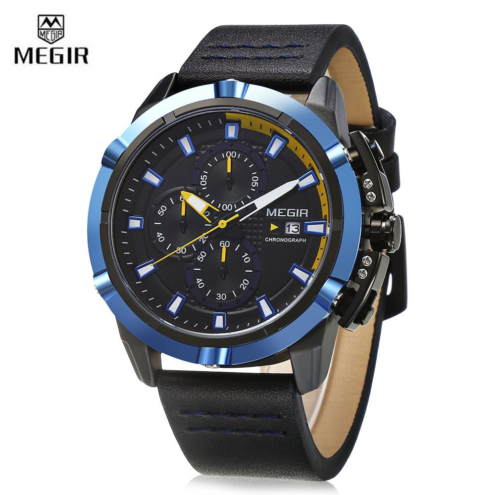 MEGIR ML2062 Men Quartz Watch Calendar Stopwatch Luminous Male Wristwatch - intl