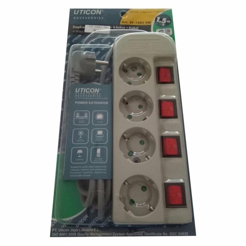 Uticon Stop Kontak 4 Lubang + Kabel 1.5Meter + 4 Saklar - ST1482SW