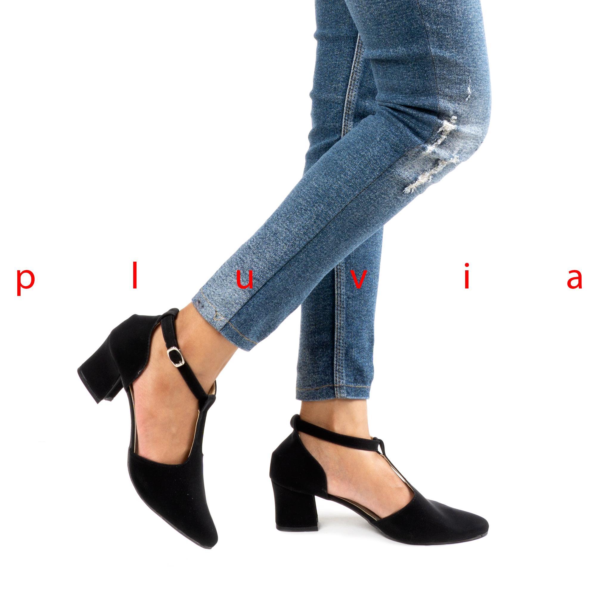 Pluvia - Sepatu Pantofel High Heels T-Strap Wanita CH02 - Hitam