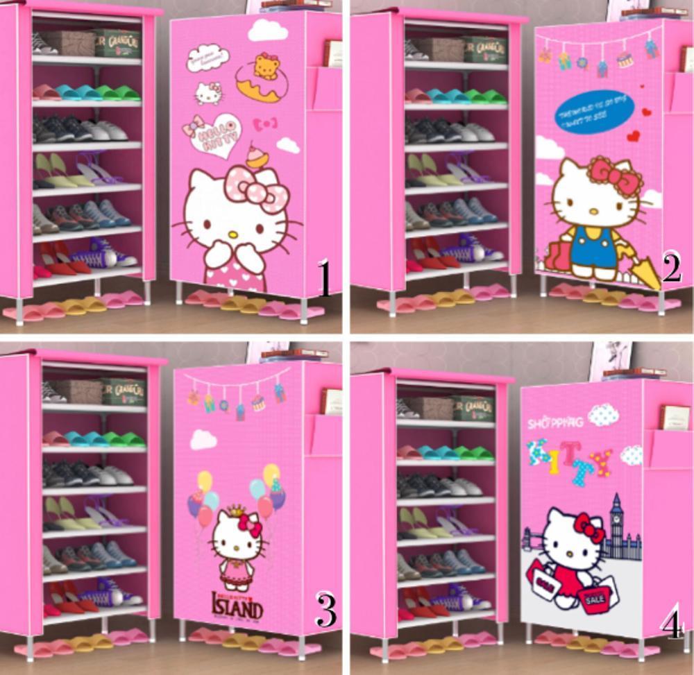 Features Promo Sale R06 New Rak Sepatu Kain Lemari 6 Ruang Karakter Hello Kitty Tlb