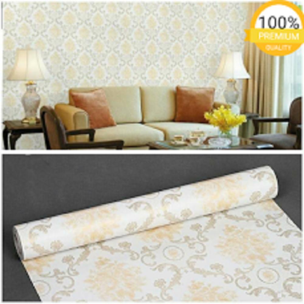 Grosir murah wallpaper sticker dinding kamar ruang indah putih batik kuning emas