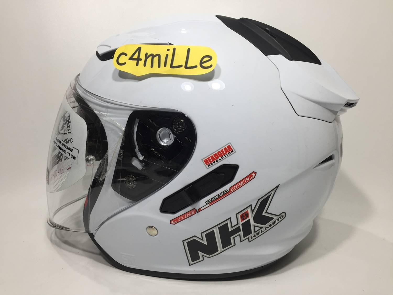 Fitur Helm Nhk Terminator Road Yellow Fluo Double Visor Full Face Gp1000 Xvision R1 Solid White Half