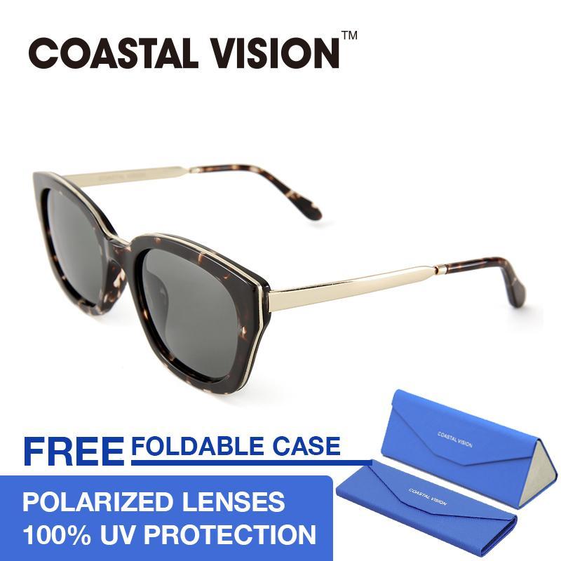 Spek Coastal Vision Kacamata Polarized Wanita Tawny Persegi Panjang Lensa Anti Uva B Cvs5048