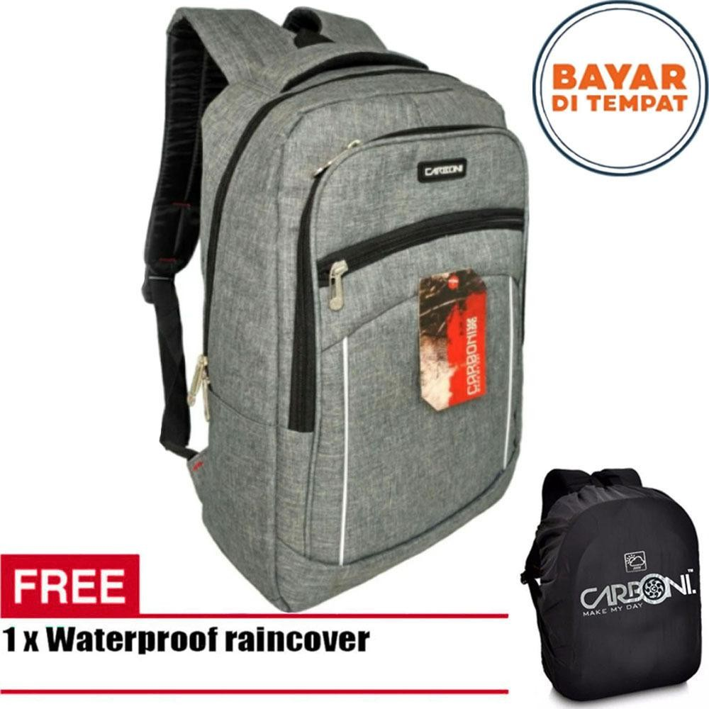 Carboni Backpack Tas Ransel Laptop Casual Trendy Ma00057 15 Grey Raincover Asli