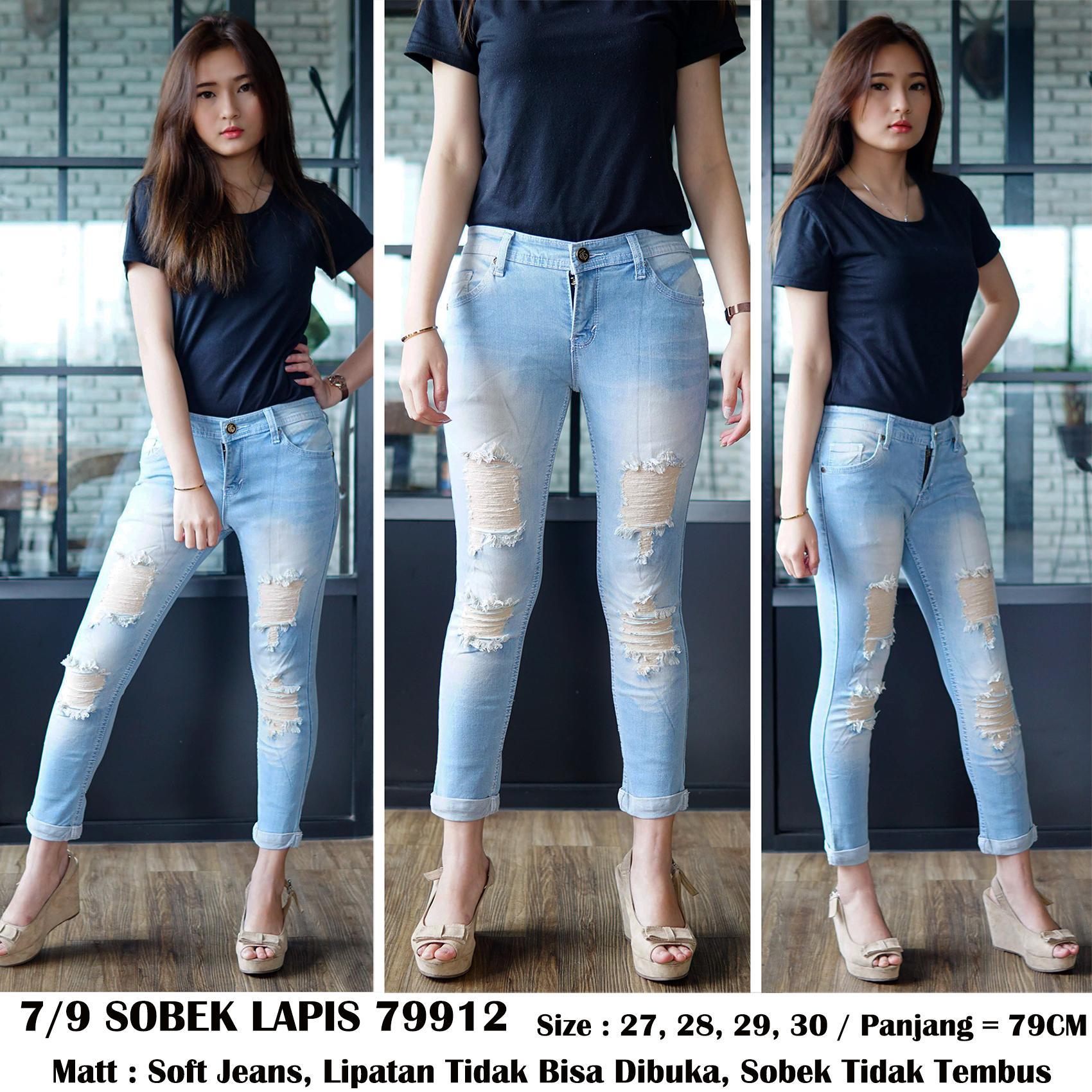 Detail Gambar Rumah Jeans Celana Jeans Ripped Wanita 7per9 Jeans Sobek Lapis Jeans Sobek Cewek Terbaru