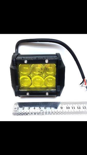 Detail Gambar Lampu Tembak Sorot Kabut Hujan LED 6 Titik Mata Dua Susun 18 watt Kuning Warm White Motor Mobil Terbaru