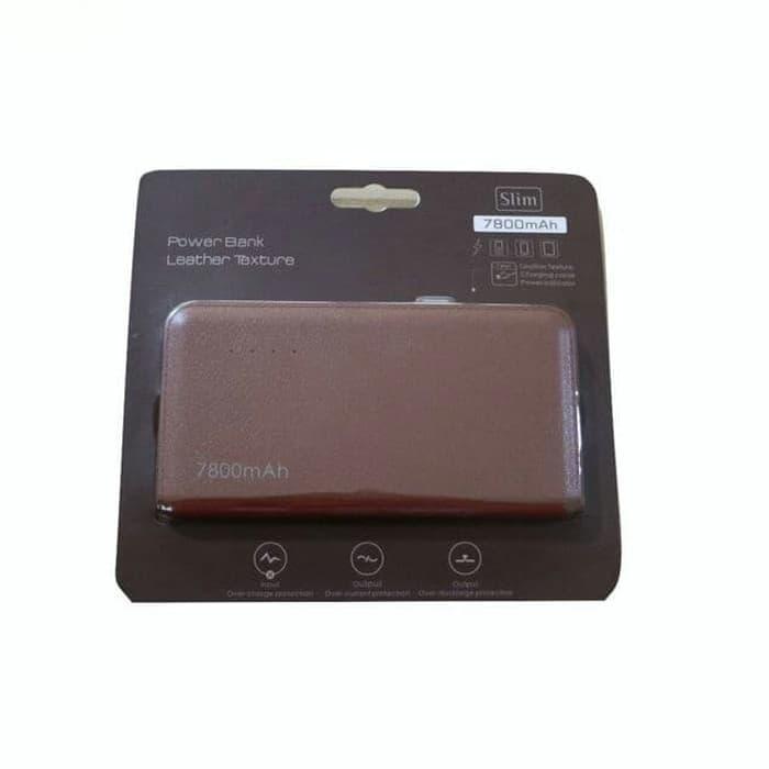 Bcare Slim Leather Texture Powerbank [7800 mAh] - Coklat
