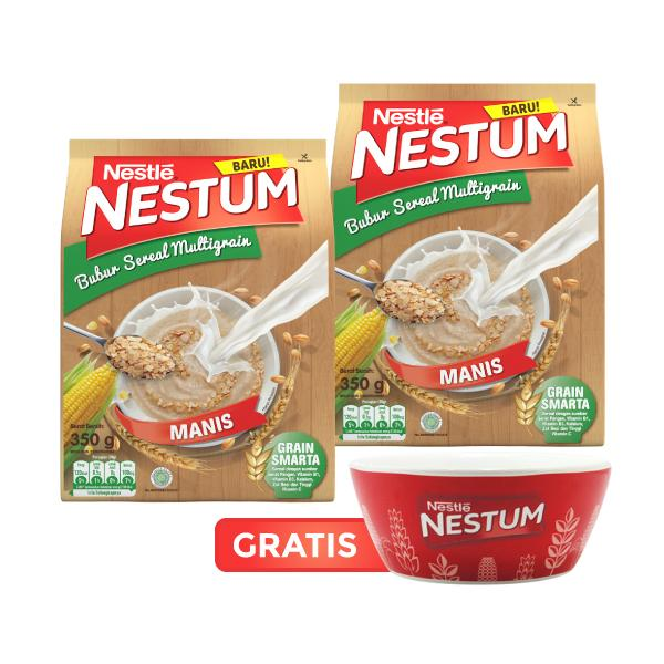 NESTUM Bubur Sereal Multigrain Pouch 350gram Original [2Pcs] - GRATIS MANGKOK