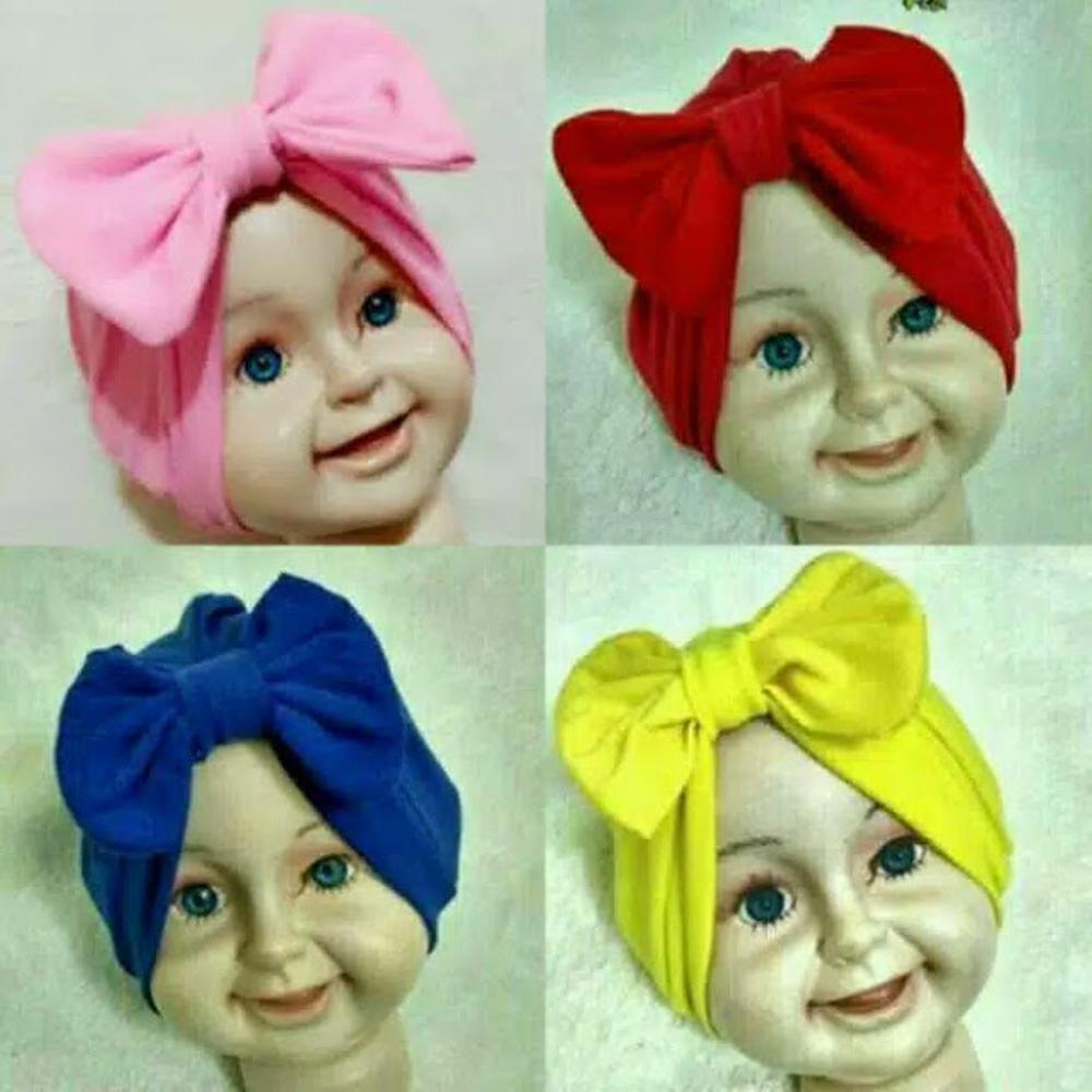 Turban Pita Bayi & Anak Topi Anak Perempuan Hijab Kerudung Bayi Balita Anak Turban Bayi Anak Ikat Polos Hijab Kerudung Aksesories Headband - Turban Baby Bayi Pita Bow Polos - WARNA RANDOM / ACAK
