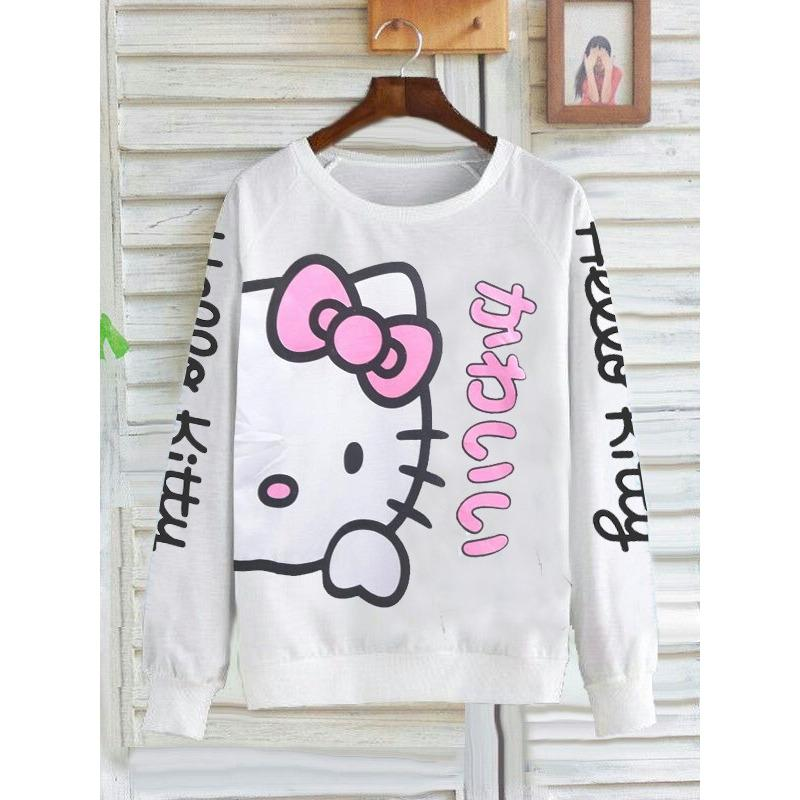 Zhenit-Collection Sweater Wanita Simple Hello Kitty White