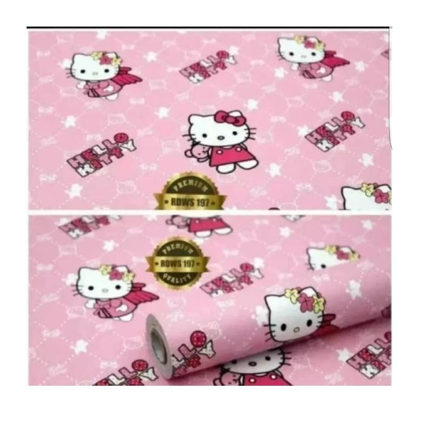 Detail Gambar Sticker Wallpaper Premium PVC - Walpaper Sticker Dinding Motif Nature (Size 45cm X 10M) - Hello Kitty Terbaru