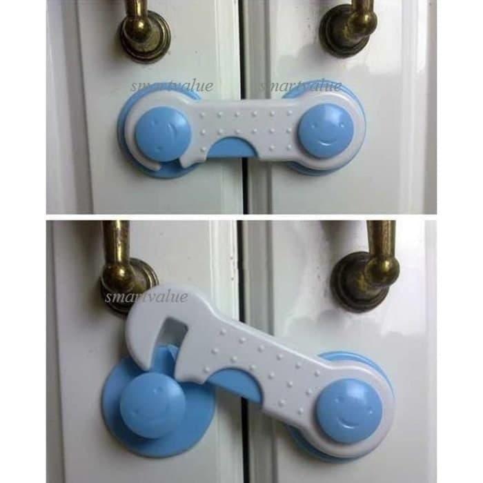 ... PAKET HEMAT 4 PCS Pengaman Pengait Laci Lemari Pintu Kulkas Bayi Baby Safety Lock Band ...
