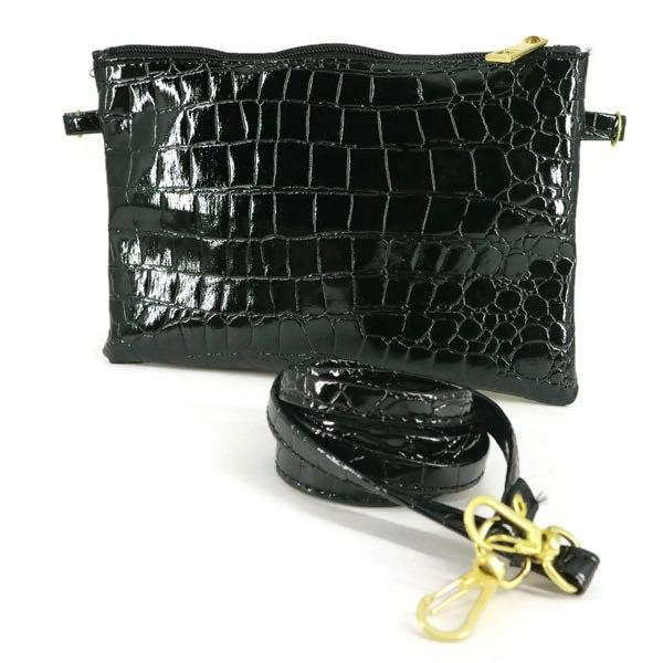 Ekslusif Tas Selempang Mini Sling Bag Wanita Motif Crocodille - Hitam