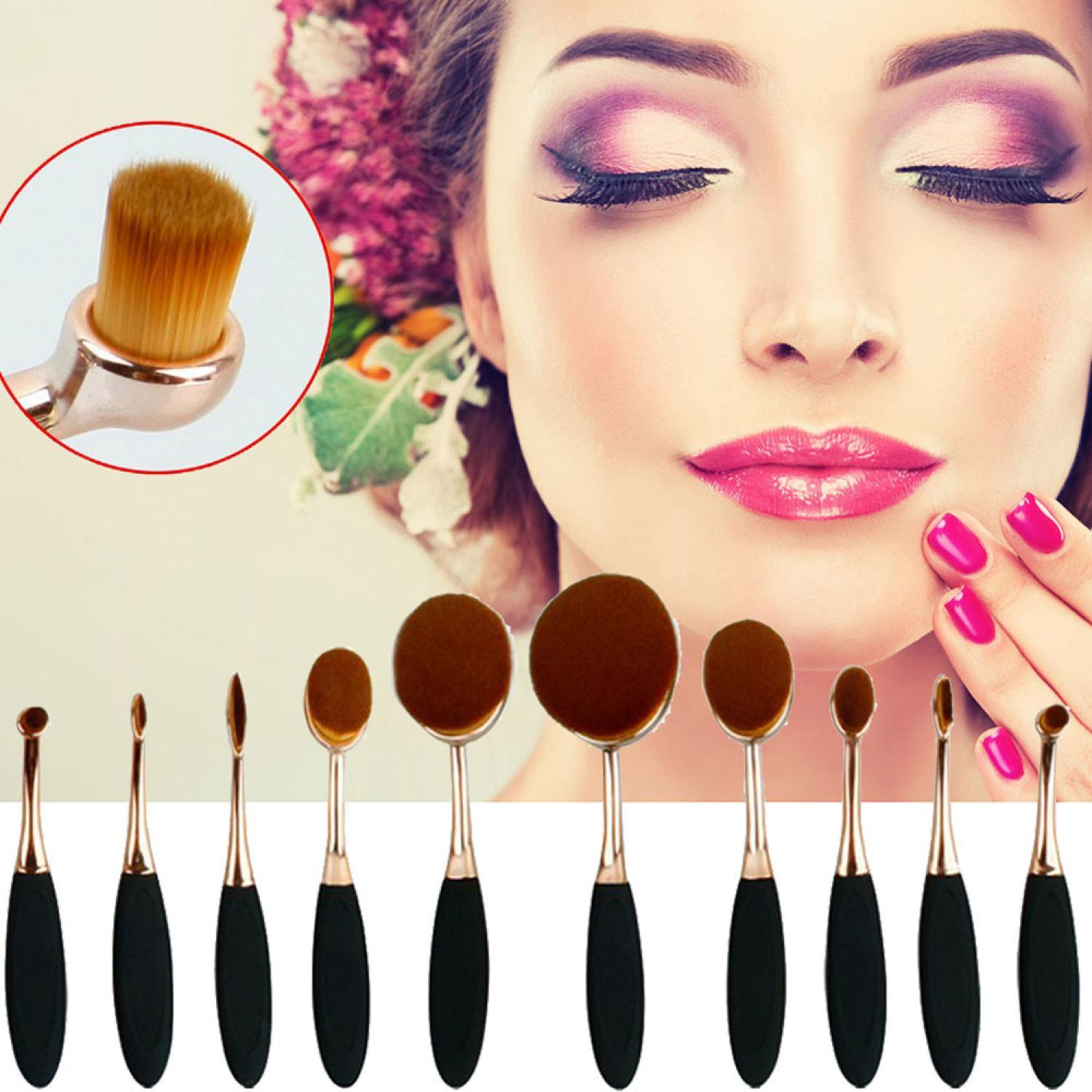 Kuas Kosmetik Make Up Oval Brush Wajah Tangkai Besi 10 PCS Asli Original Murah