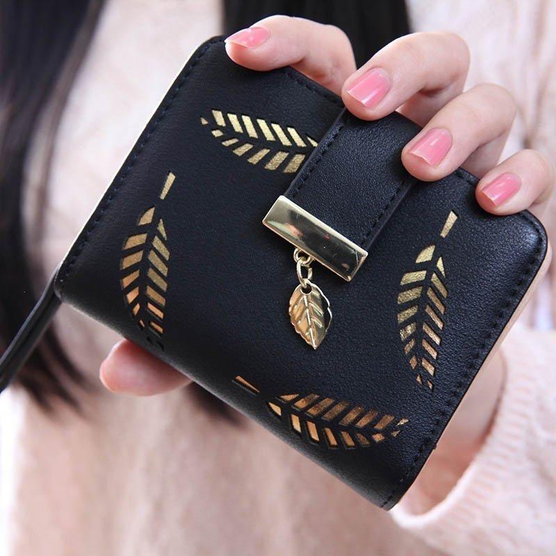 Louis - Korea Dompet Kecil Wanita Leaf Gold Pattern Short - Black