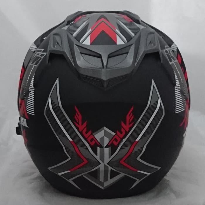 ... [Promo Best Seller] Helm 2 kaca double visor DMN BXP Duke black doff red ...