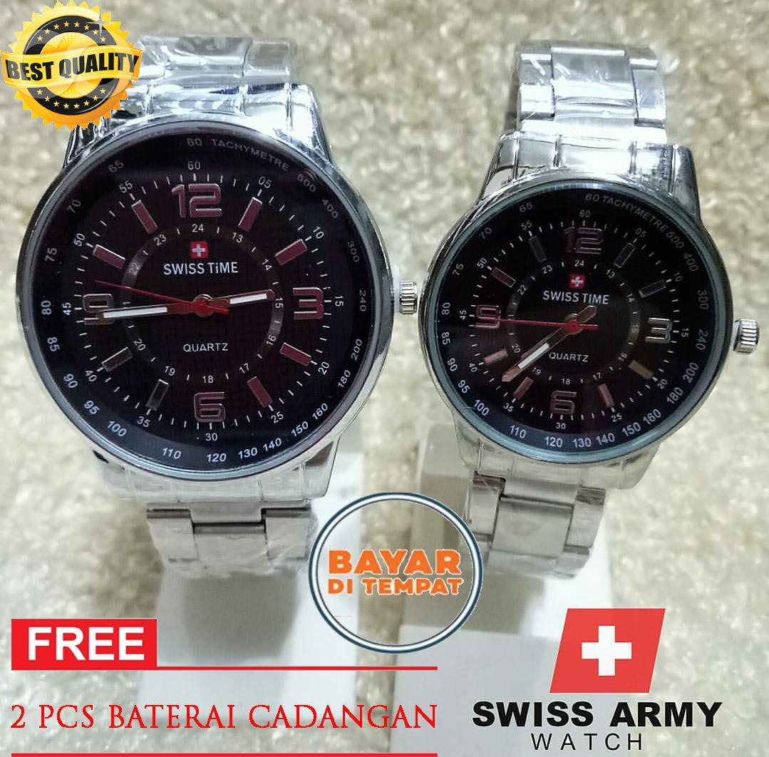 Swiss Army Couple - Jam Tangan Pria & Wanita - Tali Rantai Stainless Steel -New Edition