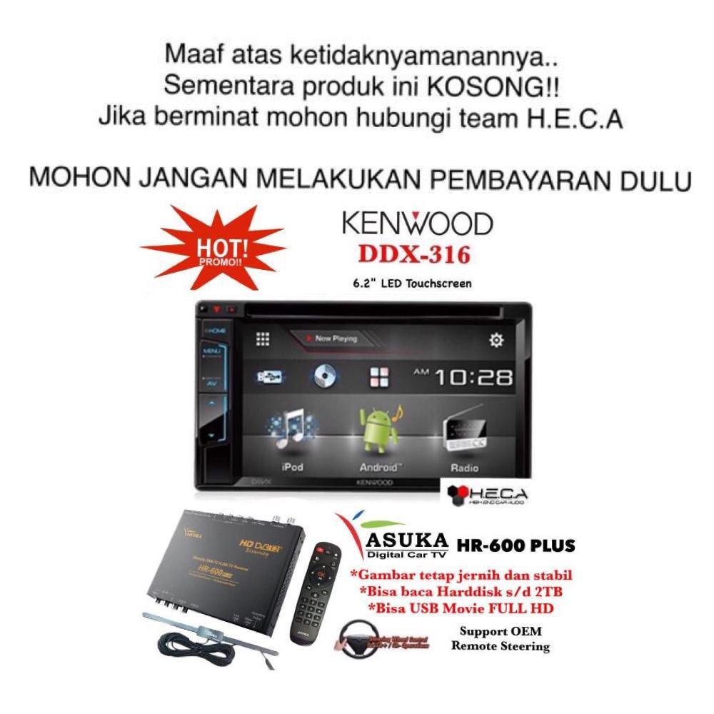 PAKET PROMO Kenwood DDX-316 Head Unit Double Din Tape Mobil & ASUKA HR-600 TV Tuner Digital