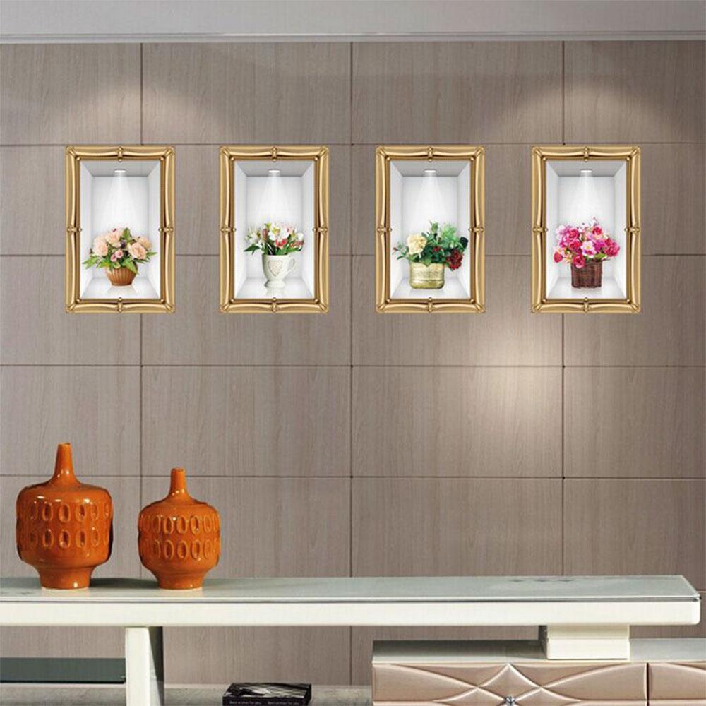 Spesifikasi Mimosifolia 3D Vas Stiker Dinding Stiker Wallpaper Pvc Seni Dekorasi Rumah Lukisan Kertas Dinding For Orang Dewasa Children Bagus